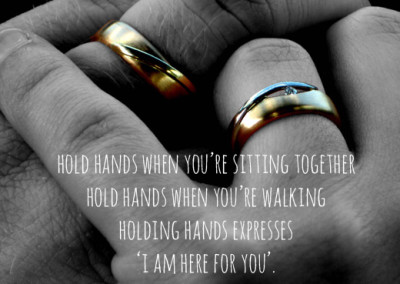 Marriage tip, hold hands often, it shows that you are there for each other, it demonstrates that you care. Holding hands is great for your marriage!